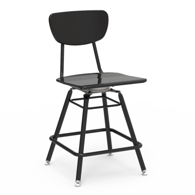 3000 Series 4-Leg Lab Stool with a hard plastic seat and back, and a steel frame.