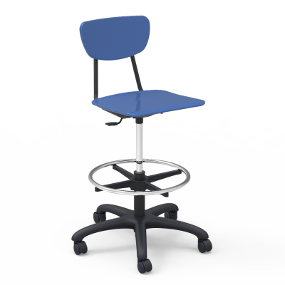 3000 Lab Stool with foot ring, pedestal base, five prong hooded swivel casters, and hard plastic seat and separate back
