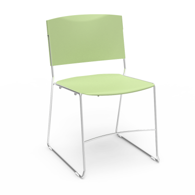 Ultrastack Chair with plastic seat and back, and solid steel rod frame.