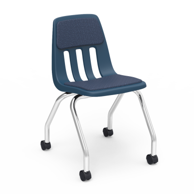 9000 Chair with soft plastic seat bucket, soft-wheeled casters, and steel frame
