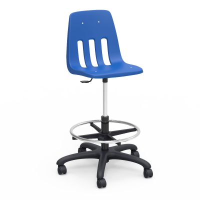9000 Series Lab stool with a soft plastic seat bucket, a steel pedestal with adjustable footring, and five dual-wheel hooded swivel casters.
