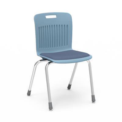 Analogy chair with soft plastic seat bucket and steel frame