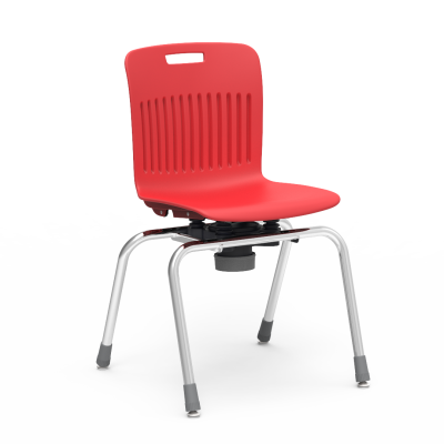 Analogy Choose to Move 4-Leg Chair with a soft plastic seat bucket, and a steel frame.