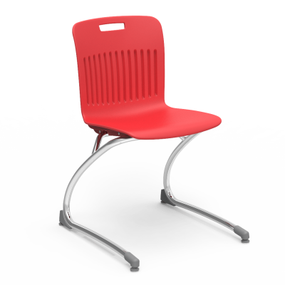 Analogy chair with soft plastic seat bucket and steel cantilever frame
