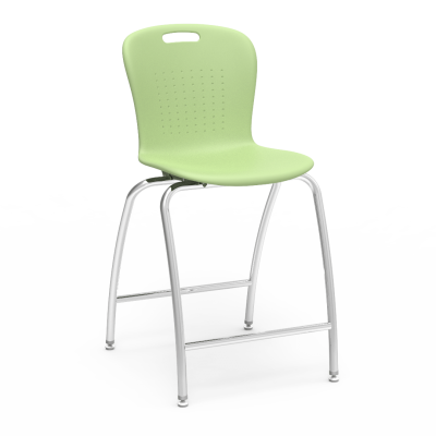 Sage 4-Leg Stool with steel Civitas Frame and soft plastic seat bucket.