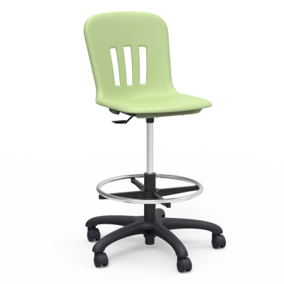 "Metaphor Lab Stool with a soft plastic seat bucket, pedestal base, adjustable footring, and five 2"" diameter, dual-wheel, hooded swivel casters."