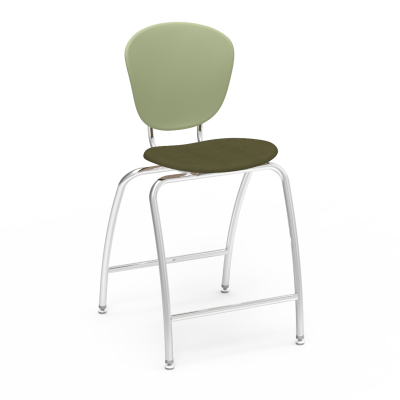 Parison Stool with Upholstered Seat, separate two piece soft plastic bucket, and steel frame.