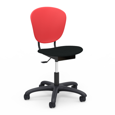Parison Mobile Task Chair with a two pieced soft plastic bucket and upholstered seat, and a pedestal base with five duel wheeled hooded swivel casters.