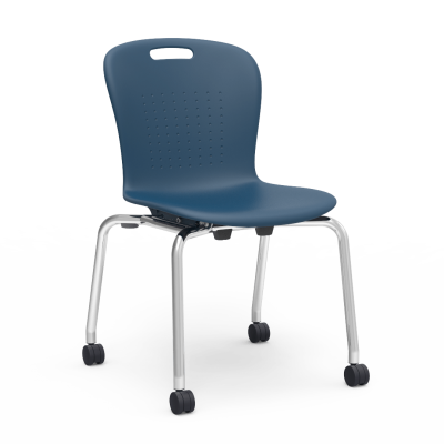 Sage 4-Leg Stacking Caster Chair with a soft plastic seat bucket, and a steel frame.