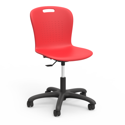 "Sage Mobile Task Chair with a soft plastic seat bucket, pedestal base, and five 2"" diameter, dual wheel, hooded swivel casters."