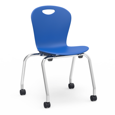 ZUMA 4-Leg Stacking Caster Chair with a soft plastic seat bucket and steel frame.