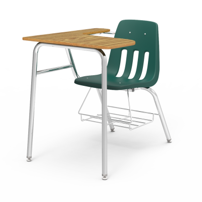 9000 Chair Desk with soft plastic seat bucket, L shaped work surface, book rack,  and steel frame