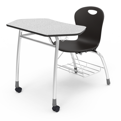 ZUMA Series Agile Combo Unit with Civitas frame and a collaborative shape work surface, a soft plastic seat bucket, and a steel frame with two casters, a backpack hanger and a bookrack.