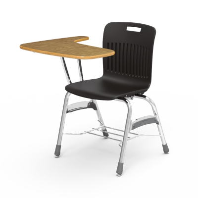 Analogy Tablet Arm Chair Desk with an L-shaped work surface, soft plastic seat bucket, and a 4-leg steel frame with a bookrack.
