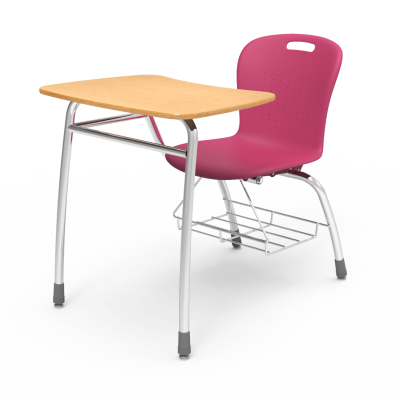 Sage Combo Unit with Civitas legs and steel frame, a soft plastic seat bucket, a bowfront shape work surface, and bookrack.