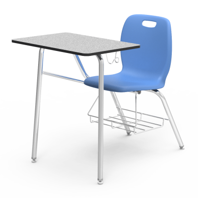 N2 Chair Desk with a rectangle work surface, soft plastic seat bucket, 4-leg steel frame, and bookrack.