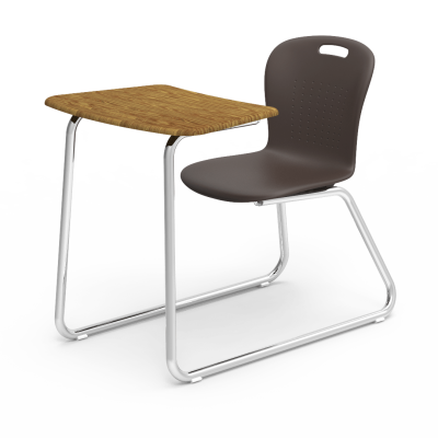 Sage Sled Based chair desk with a bowfront shaped work surface, a soft plastic seat bucket and a steel frame with bookrack.