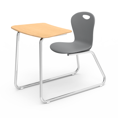 Zuma Sled-Based Chair Desk with a soft plastic seat bucket, a bowfront work surface, and a steel frame.