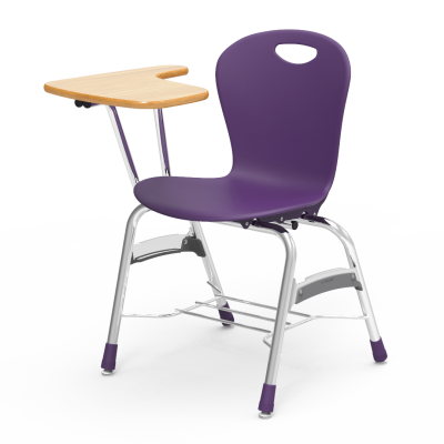 Zuma Chair Desk with an L-shaped articulating work surface, a soft plastic seat bucket, and a steel frame with bookrack.