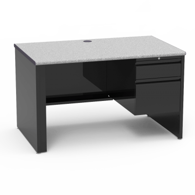 53 Series Desk with  a drawer Right-Hand Pedesta, a rectangular work surface, and a steel frame.