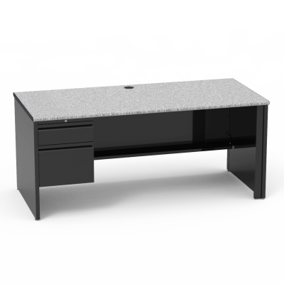 53 Series Desk with a rectangle work surface atop a  steel frame, and comes with a left-handed pedestal with drawers, featuring a locking box and a file drawer.