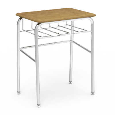72 Desk with a rectangular work surface and bookrack, and a four leg steel frame.