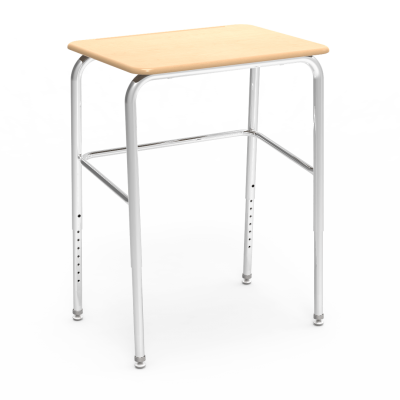 72 Series Student Desk with rectangular work surface and four leg steel frame.