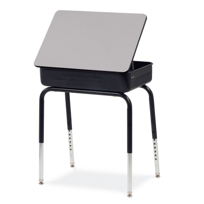 751 Lift-Lid Desk with rectangular work surface, a metal book box, and a four leg steel frame.
