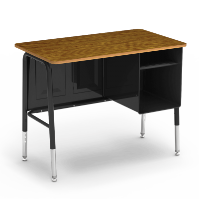 765 Series Jr. Executive Desk with a rectangular work surface, a side-mounted two shelve book compartment, a modesty panel, and a four leg steel frame.