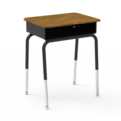 785 Desk with a built in Metal Book Box, a rectangular work surface, and a four leg steel frame.