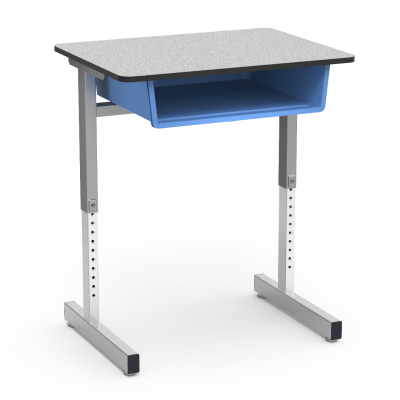 871 Series Student Desk with a rectangular Top work surface with book box, and a two leg steel frame.