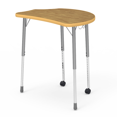 Molecule Series Student Desk with a collaborative top, a backpack hanger, and four adjustable steel legs and two front casters.