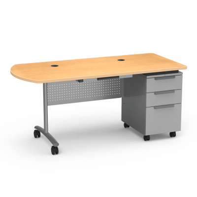 TEXTAMETER Teacher Desk Peninsula Top work surface with center drawer,  a three drawer cabinet and steel frame with casters.