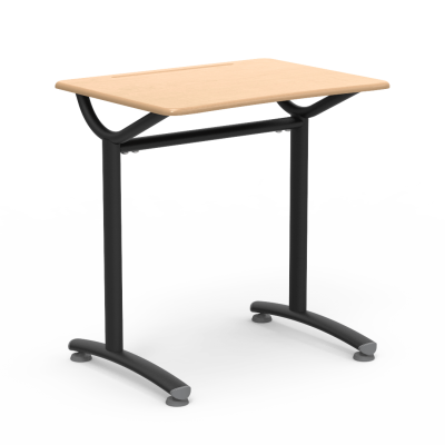 TEXT Series Student Desk with rectangular work surface and two leg steel frame.