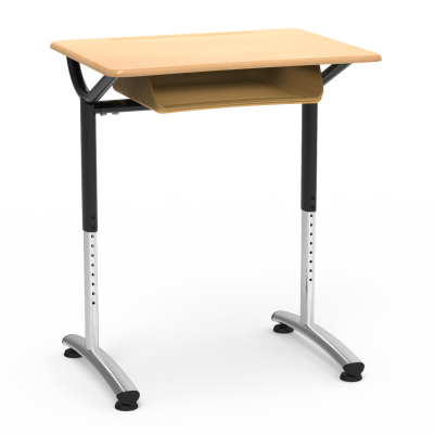 TEXT Student Desk With Book Box, a rectangular work surface and two leg steel frame.
