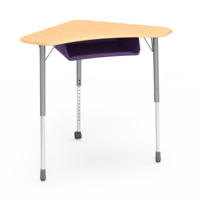 ZUMA ZBOOM Book Box with a boomerang collaborative work surface and a three leg steel frame.