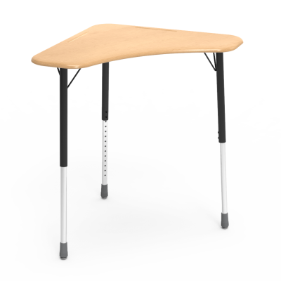 ZUMA Series ZBOOM Desk with a boomerang collaborative work surface and three leg steel frame.