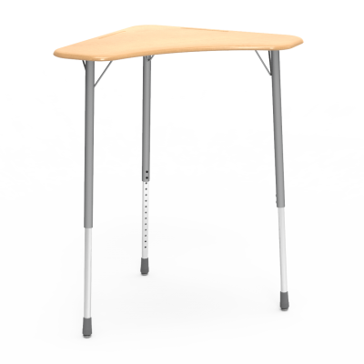 ZUMA Series Stand-Up ZBOOM Desk with a boomerang shaped collaborative work surface and a three leg steel frame.