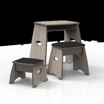 Metonymy foot stool, padded bench, and desk set.