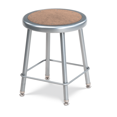 122 Stool with a steel frame, and formed steel seat with a Masonite inset.