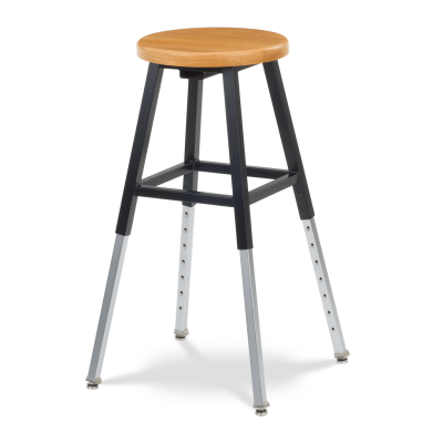 125 Series Stool with a wooden seat and adjustable steel legs.