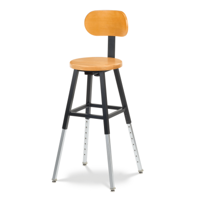 125 Series Stool with adjustable steel legs and a wooden seat and back rest.