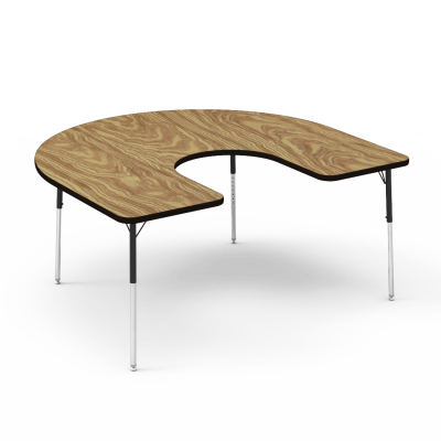 4000 Series Table with a Horseshoe Top and Steel Adjustable Legs