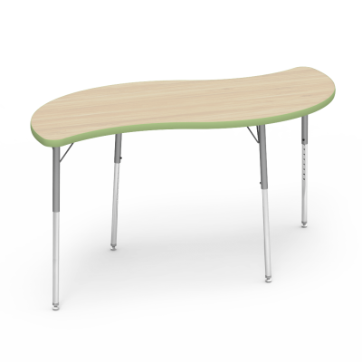 ... Image 4000 Series Table With Leaf Shape Top And Adjustable Steel Legs