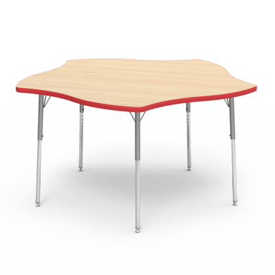 4000 Series Table with Pinwheel Shape Top and Adjustable Steel Legs