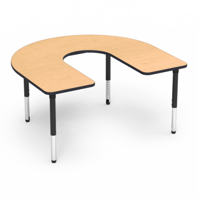 5000 Series Table with Horseshoe Top with Deep Center Cut and Adjustable Steel Legs