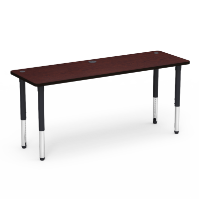 5700 Series Table with Rectangle Top, Two Grommets, Built-in Power Port, and Adjustable Steel Legs