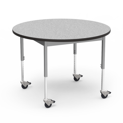 "6800 Series Table with Round Top"" with Steel Apron and  Adjustable Steel Legs on Casters"