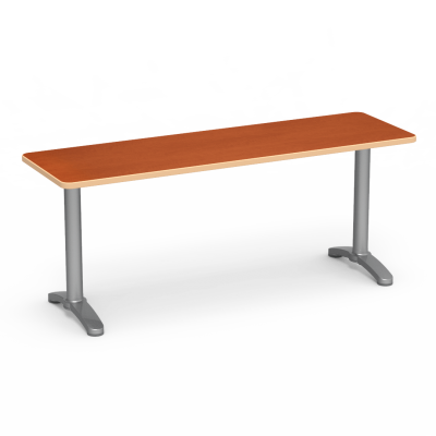 Lunada Series Seminar Table with Rectangular Top and a steel frame with bi-point feet.