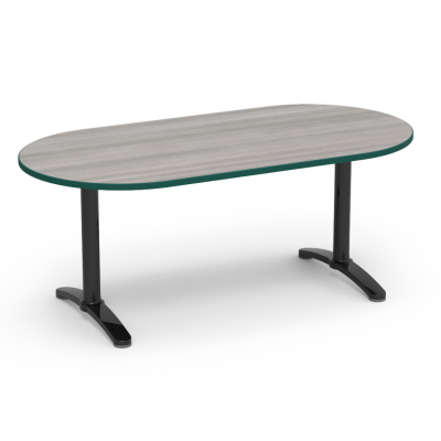 Lunada Series Seminar Table with Racetrack Top and a steel frame with bi-point feet.